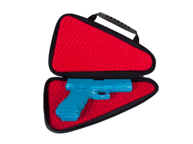 Thermal formed Ethylene Vinyl Acestate pistol storage case with plastic handle and memory foam interior