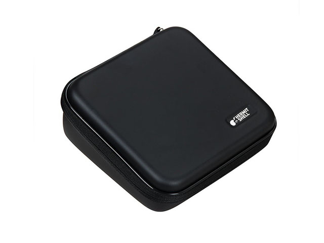 Portable Label Printer carrying zippered case black leather covering with plastic piping