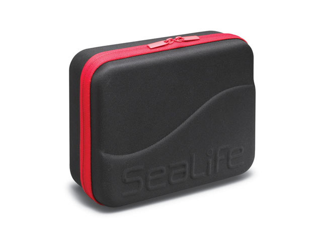 SeaLife go pro open travel case nylon coated clamshell with red zipper to hold dive camera and lights