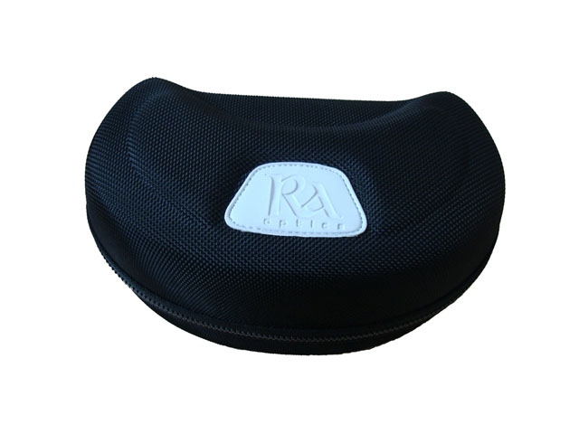 RA Optics thermal formed EVA ski goggle protector case with plastic zipper closure and leather stamping logo