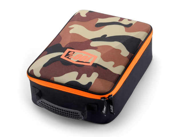 100 percent snowboard goggle travel case camo hard top with padded divider and foam protector for accessories
