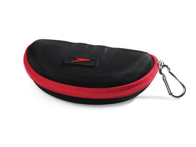 Speedo thermal formed EVA swim goggle protector case with plastic zipper closure and carabiner clip for easy transport