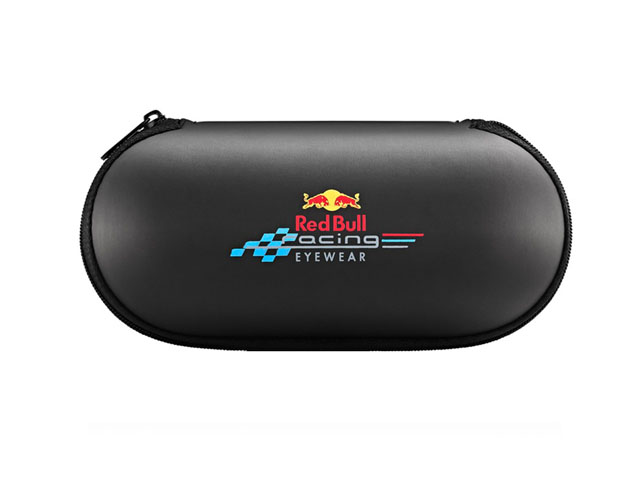 Red bull best racing EVA eyewear sunglasses case matte black leather covering imprinted logo