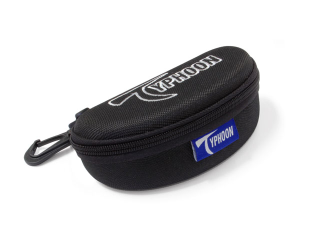 TYPHOON EVA sunglass storage case with rotate plastic hook embroidery logo on top nylon zipper closure