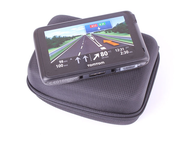 TOMTOM Molded hard shell EVA gps carry case with embossed logo and removable tray inside