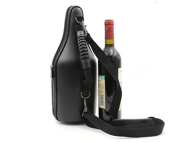 Thermal formed Genuine leather champagne carrier for CaddyO with shoulder strap and handle