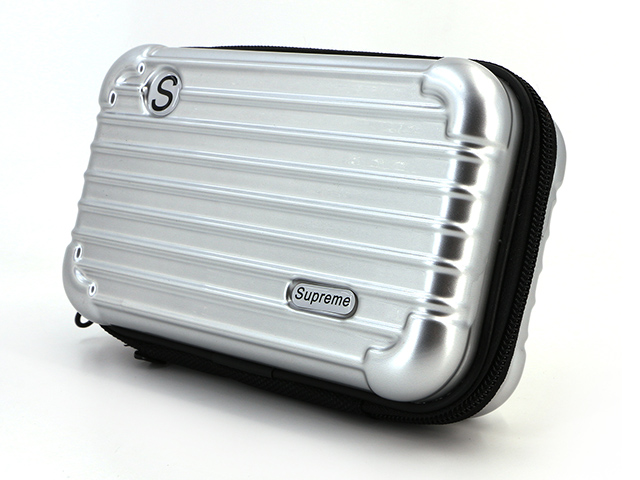Makeup case with brush slots holder silver ABS+PC compact and slim design