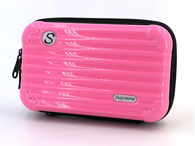 Makeup organizer train travel case sweet pink small rectangle easy carrying