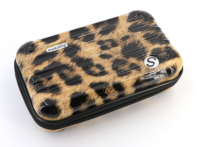 Makeup storage travel cases with leopard pattern