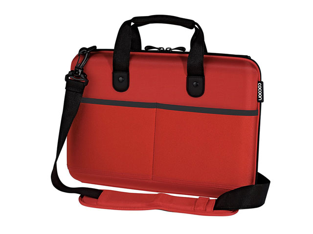 13 inch laptop carrying case hot red color with front neoprene pocket
