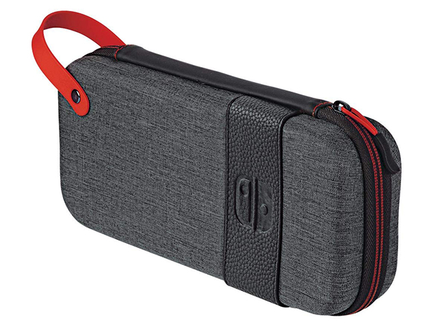 New nintendo 3ds carrying case dark grey fabric with red leather wrist handle