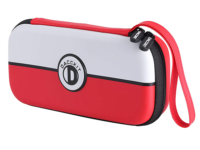 Nintendo 3ds carrying case red and white pattern zippered mesh pocket inside