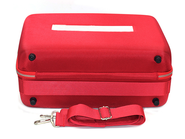 Large Size Molded EVA protective Case in hot Red with enhanced nylon webbing frame
