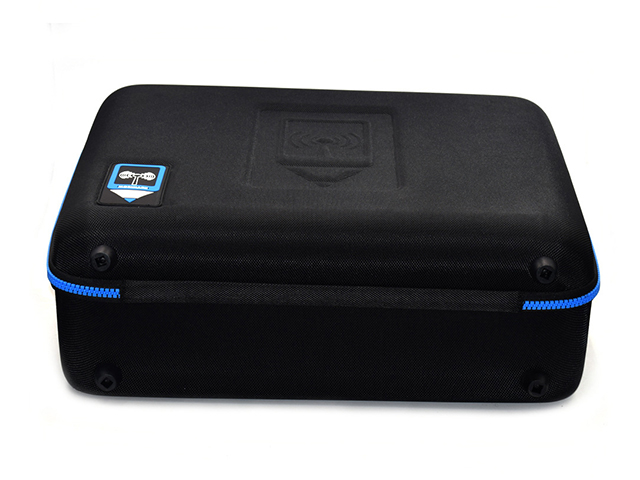 Hard shell EVA carrying Case Square shaped black reinforced nylon and blue plastic teeth custom molded interior