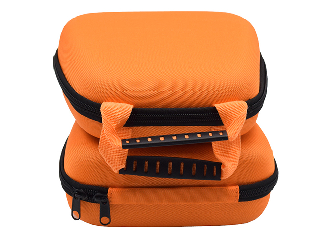 Custom Orange EVA Poly carrying Case with double webbing handle sandwich mesh pockets