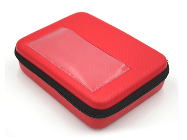 Custom Hot Red EVA carry Case with transparent card pouch on lid