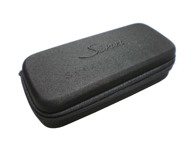 Sinn zippered EVA travel watch boxes for men polyester covering with dual custom die cutting foam pad