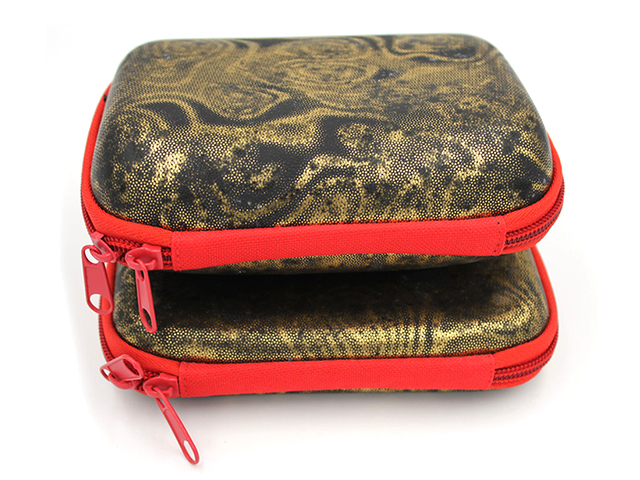 Custom EVA reel carrying Case with Snakeskin Pattern for carp kinetics with soft die cutting foam slot
