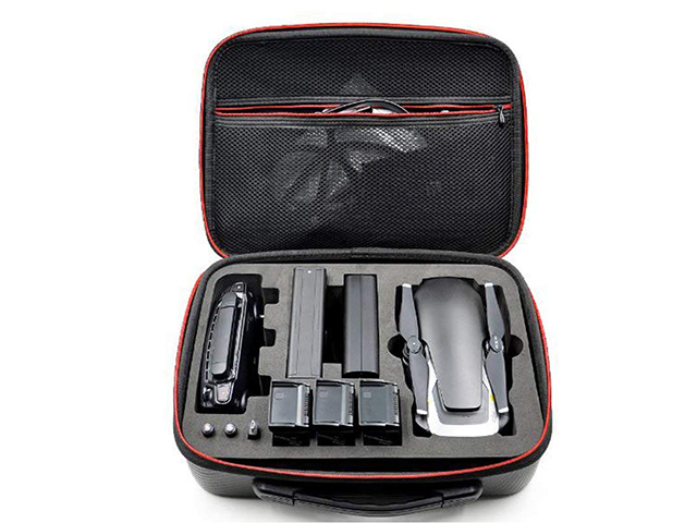 Dji phantom 4 hard carrying case with black carbon fiber PU leather coating and die cutting EVA insert