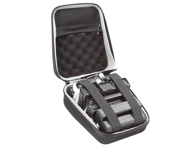 Hard carrying case for racing drone with DIY velcro dividers and egg crate foam insert