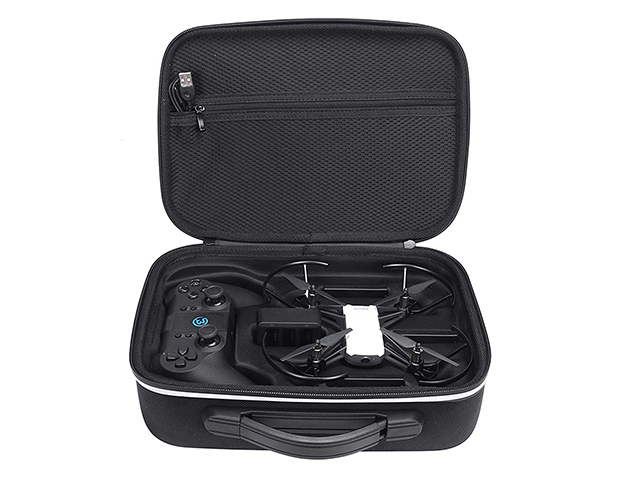 Custom EVA Case for DJI RYZE Tello football pattern PU leather with molded inlay and zippered mesh pocket
