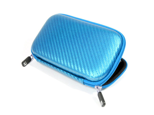 Rugged EVA 2.5 inch external hard drive case coated with shining carton fiber individual SD card pockets reliable supplier